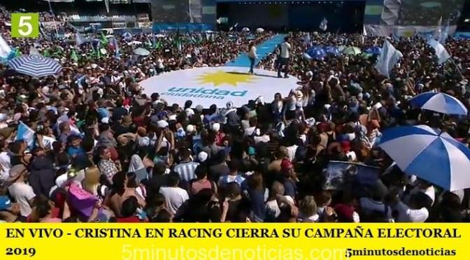 EN VIVO – CRISTINA EN RACING CIERRA SU CAMPAÑA ELECTORAL 2019