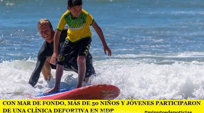 CON MAR DE FONDO, MÁS DE 50 NIÑOS Y JÓVENES PARTICIPARON DE UNA CLÍNICA DEPORTIVA EN MDP
