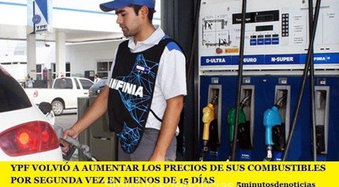 YPF VOLVIÓ A AUMENTAR LOS PRECIOS DE SUS COMBUSTIBLES POR SEGUNDA VEZ EN MENOS DE 15 DÍAS