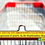 LA INFLACIÓN ANUAL EN ARGENTINA YA SUPERA EL 55%   En la era de Macri superará el 300%, la de Septiembre llega al 6%