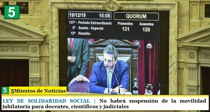 LEY DE SOLIDARIDAD SOCIAL | No habrá suspensión de la movilidad jubilatoria para docentes, científicos y judiciales