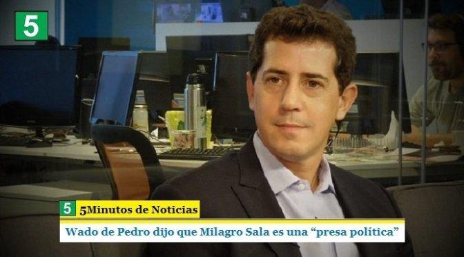 """WADO DE PEDRO DIJO QUE MILAGRO SALA ES UNA """"PRESA POLÍTICA"""""""