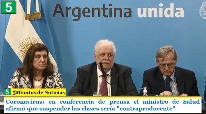 """Coronavirus: en conferencia de prensa el ministro de Salud afirmó que suspender las clases sería """"contraproducente"""""""