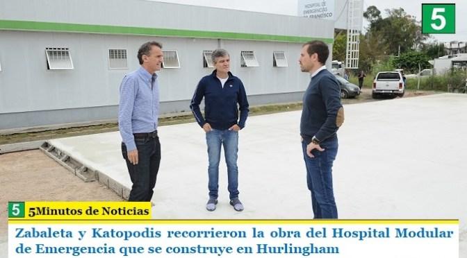 Zabaleta y Katopodis recorrieron la obra del Hospital Modular de Emergencia que se construye en Hurlingham