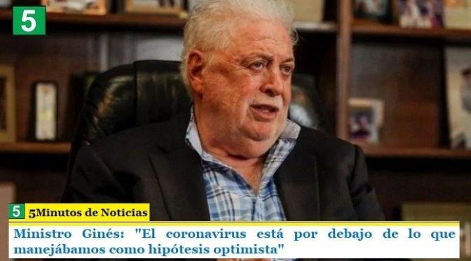 """Ministro Ginés: """"El coronavirus está por debajo de lo que manejábamos como hipótesis optimista"""""""