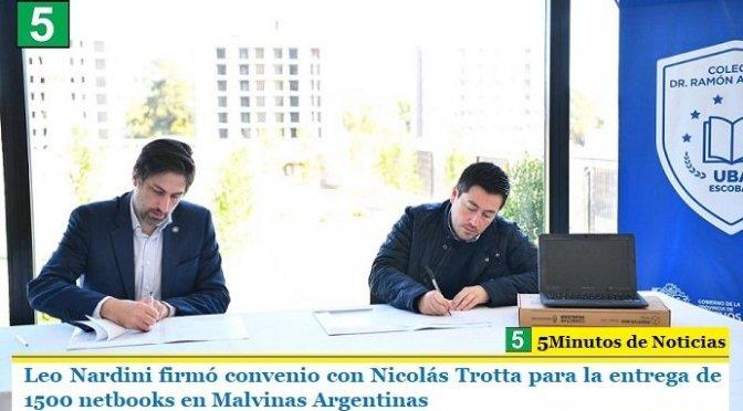 Leo Nardini firmó convenio con Nicolás Trotta para la entrega de 1500 netbooks en Malvinas Argentinas