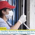 El intendente Nardini decretó la obligatoriedad del uso de barbijo o protector facial desde el próximo lunes en Malvinas Argentinas