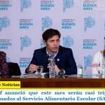 Axel Kicillof anunció que este mes serán casi triplicados los fondos destinados al Servicio Alimentario Escolar (SAE)
