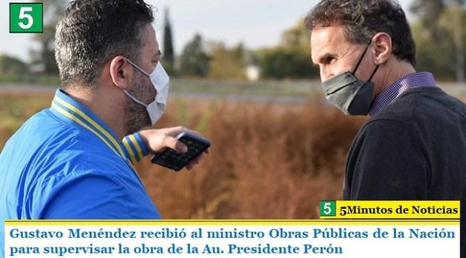 Gustavo Menéndez recibió al ministro de Obras Públicas de la Nación para supervisar la obra de la Au. Presidente Perón