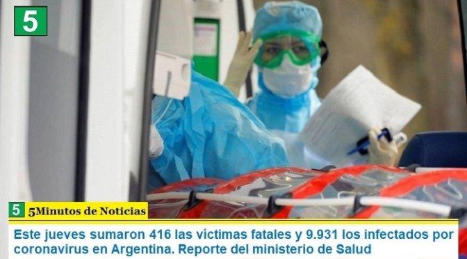 Este jueves sumaron 416 las víctimas fatales y 9.931 los infectados por coronavirus en Argentina. Reporte del ministerio de Salud