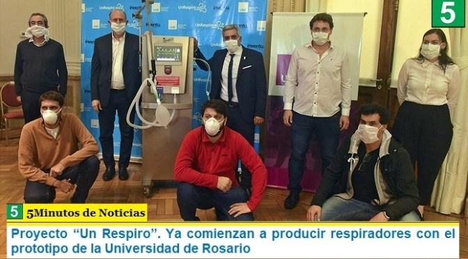 """Proyecto """"Un Respiro"""". Ya comienzan a producir respiradores con el prototipo de la Universidad de Rosario"""