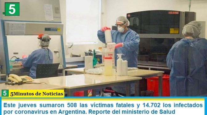 Este jueves sumaron 508 las víctimas fatales y 14.702 los infectados por coronavirus en Argentina. Reporte del ministerio de Salud