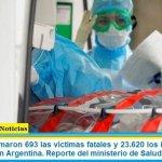 Este lunes sumaron 693 las víctimas fatales y 23.620 los infectados por coronavirus en Argentina. Reporte del ministerio de Salud