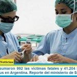 Este sábado sumaron 992 las víctimas fatales y 41.204 los infectados por coronavirus en Argentina. Reporte del ministerio de Salud