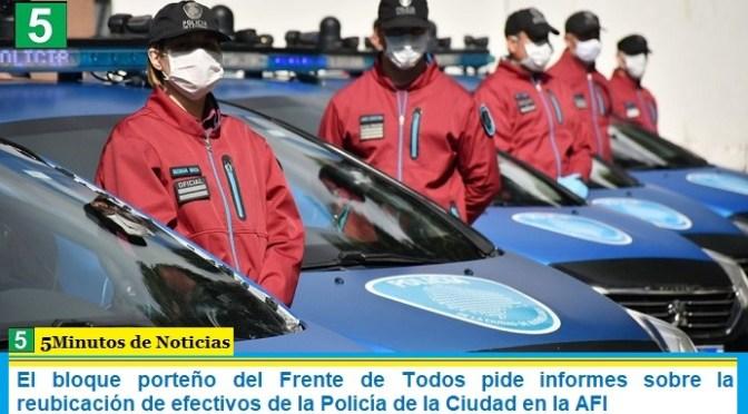 El bloque porteño del Frente de Todos pide informes sobre la reubicación de efectivos de la Policía de la Ciudad en la AFI