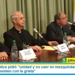 """La Iglesia Católica pidió """"unidad y no caer en mezquindades"""" y criticó a medios que """"insisten con la grieta"""""""