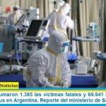 Este jueves sumaron 1.385 las víctimas fatales y 69.941 los infectados por coronavirus en Argentina. Reporte del ministerio de Salud