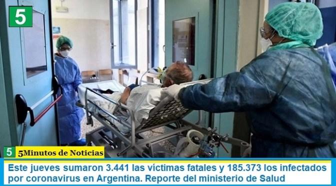 Este jueves sumaron 3.441 las víctimas fatales y 185.373 los infectados por coronavirus en Argentina. Reporte del ministerio de Salud