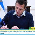 Sergio Massa firmó las leyes de Donación de Plasma, Fibrosis Quística y Recetas Digitales