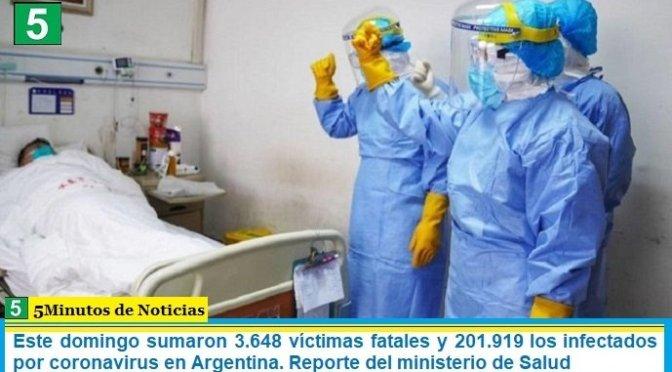Este domingo sumaron 3.648 las víctimas fatales y 201.919 los infectados por coronavirus en Argentina. Reporte del ministerio de Salud