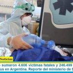 Este domingo sumaron 4.606 las víctimas fatales y 246.499 los infectados por coronavirus en Argentina. Reporte del ministerio de Salud