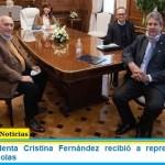 La Vicepresidenta Cristina Fernández recibió a representantes de cámaras agrícolas