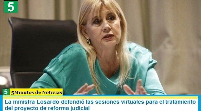 La ministra Losardo defendió las sesiones virtuales para el tratamiento del proyecto de reforma judicial