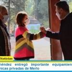 Gustavo Menéndez entregó importante equipamiento contra el Covid-19 a clínicas privadas de Merlo