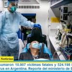Este jueves sumaron 10.907 las víctimas fatales y 524.198 los infectados por coronavirus en Argentina. Reporte del ministerio de Salud
