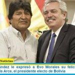 Alberto Fernández le expresó a Evo Morales su felicitación por la victoria de Luis Arce, el presidente electo de Bolivia