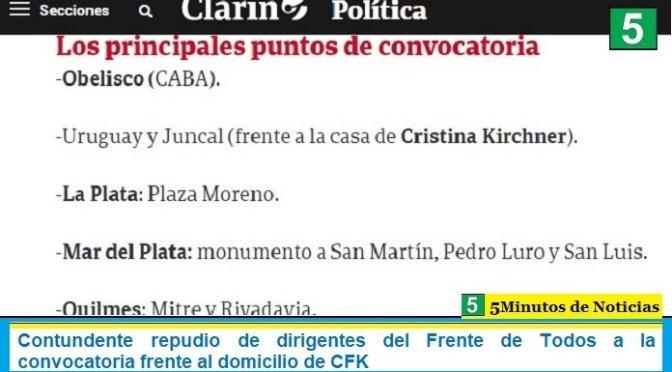Dirigentes del oficialismo deploraron que se haya convocado a marchar este lunes hacia la casa de la vicepresidenta Cristina Fernández de Kirchner.