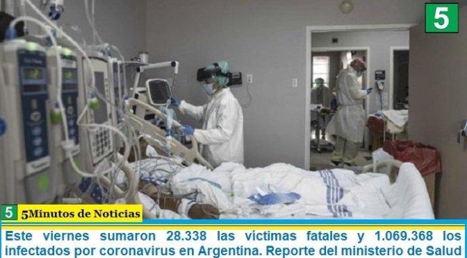 Este viernes sumaron 28.338 las víctimas fatales y 1.069.368 los infectados por coronavirus en Argentina. Reporte del ministerio de Salud