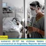 Este Sábado sumaron 26.107 las víctimas fatales y 979.119 los infectados por coronavirus en Argentina. Reporte del ministerio de Salud