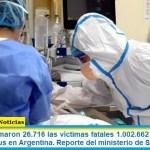 Este lunes sumaron 26.716 las víctimas fatales y 1.002.662 los infectados por coronavirus en Argentina. Reporte del ministerio de Salud