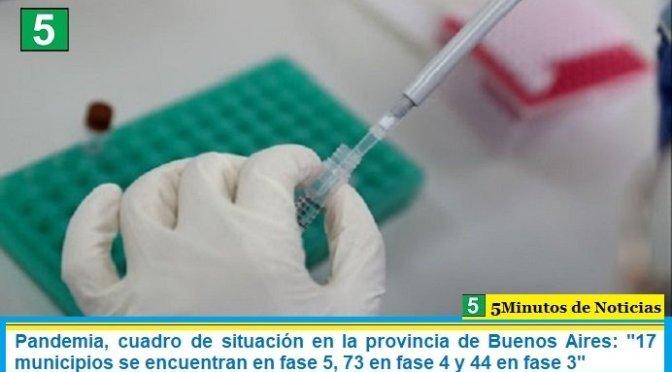 """Pandemia, cuadro de situación en la provincia de Buenos Aires: """"17 municipios se encuentran en fase 5, 73 en fase 4 y 44 en fase 3"""""""