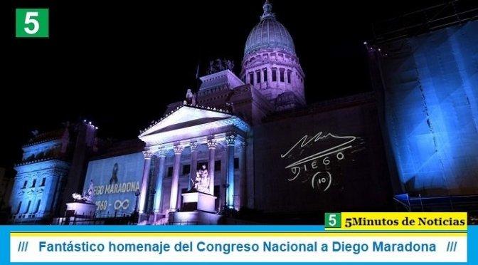 Fantástico homenaje del Congreso Nacional a Diego Maradona