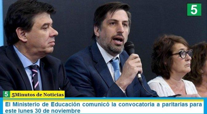 El Ministerio de Educación comunicó la convocatoria a paritarias para este lunes 30 de noviembre