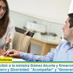 Leo Nardini recibió a la ministra Gómez Alcorta y firmaron convenios en materia de Género y Diversidad: «Acompañar» y «Generar»