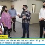 Leo Nardini visitó las obras de las escuelas 30 y 31 de Ing. Pablo Nogués y pone en valor la educación pública
