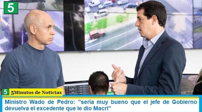 """Ministro Wado de Pedro: """"sería muy bueno que el jefe de Gobierno devuelva el excedente que le dio Macri"""""""