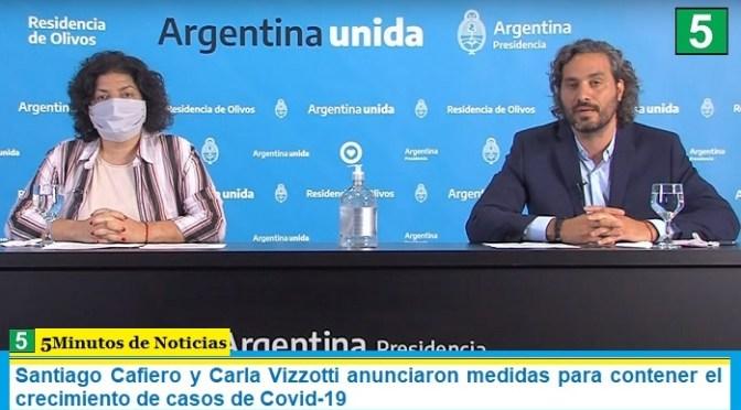 Santiago Cafiero y Carla Vizzotti anunciaron medidas para contener el crecimiento de casos de Covid-19