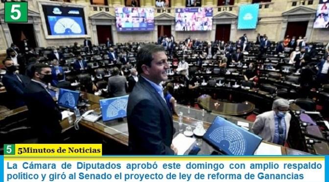 La Cámara de Diputados aprobó este domingo con amplio respaldo político y giró al Senado el proyecto de ley de reforma de Ganancias
