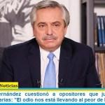 """Presidente Fernández cuestionó a opositores que judicializan las medidas sanitarias: """"El odio nos está llevando al peor de los mundos"""""""
