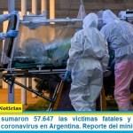 Este sábado sumaron 57.647 las víctimas fatales y 2.517.300 los infectados por coronavirus en Argentina. Reporte del ministerio de Salud
