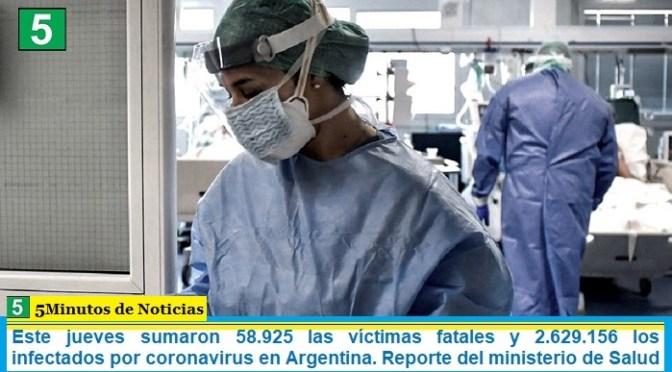Este jueves sumaron 58.925 las víctimas fatales y 2.629.156 los infectados por coronavirus en Argentina. Reporte del ministerio de Salud