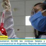 Este martes sumaron 62.599 las víctimas fatales y 2.905.172 los infectados por coronavirus en Argentina. Reporte del ministerio de Salud