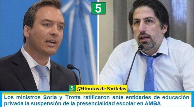 Los ministros Soria y Trotta ratificaron ante entidades de educación privada la suspensión de la presencialidad escolar en AMBA