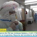 Este lunes sumaron 64.792 las víctimas fatales y 3.021.179 los infectados por coronavirus en Argentina. Reporte del ministerio de Salud