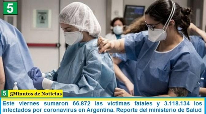Este viernes sumaron 66.872 las víctimas fatales y 3.118.134 los infectados por coronavirus en Argentina. Reporte del ministerio de Salud