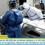 Este lunes sumaron 86.029 las víctimas fatales y 4.145.482 los infectados por coronavirus en Argentina. Reporte del ministerio de Salud